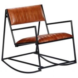 stradeXL Fotel bujany, brązowy, skóra naturalna
