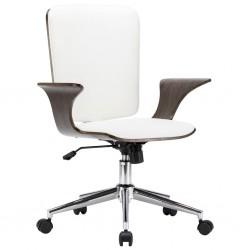 stradeXL Obrotowe krzesło biurowe, białe, sztuczna skóra i gięte drewno