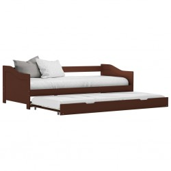 stradeXL Wysuwane łóżko, ciemny brąz, drewno sosnowe, 90x200 cm