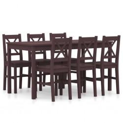 stradeXL 7-częściowy zestaw mebli do jadalni, drewno sosny, ciemny brąz