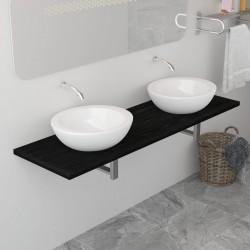 stradeXL Mebel łazienkowy, czarny, 160 x 40 x 16,3 cm