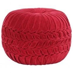 stradeXL Puf, aksamit bawełniany, marszczony, 40 x 30 cm, czerwony