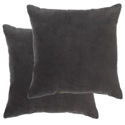 stradeXL Poduszki, 2 szt., aksamit bawełniany, 45 x 45 cm, antracytowe
