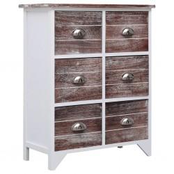 stradeXL Komoda z 6 szufladami, brązowa, 60x30x75 cm, drewno paulownia