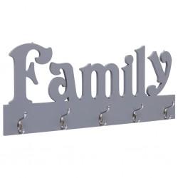 stradeXL Wall Mounted Coat Rack FAMILY Grey 74x29.5 cm
