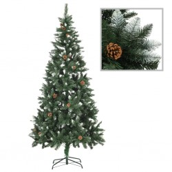 stradeXL Artificial Christmas Tree with Pine Cones and White Glitter 210 cm