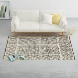 stradeXL Dywan ręcznie tkany, wełna, 160x230 cm, czarny/biały