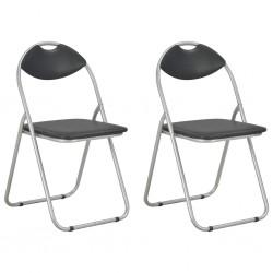 stradeXL Składane krzesła jadalniane, 2 szt., czarne, sztuczna skóra