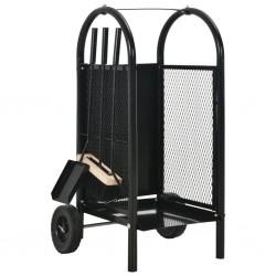 stradeXL Firewood Cart Black 30x35x81 cm Steel