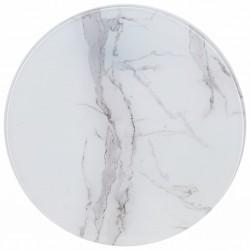 stradeXL Blat stołu, biały, Ø70 cm, szkło z teksturą marmuru