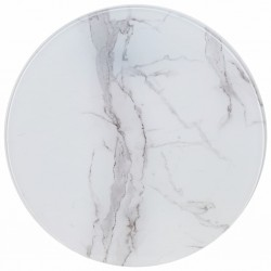 stradeXL Table Top White Ø70 cm Glass with Marble Texture