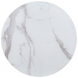 stradeXL Blat stołu, biały, Ø80 cm, szkło z teksturą marmuru