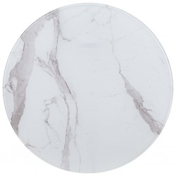 stradeXL Table Top White Ø80 cm Glass with Marble Texture