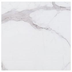 stradeXL Blat stołu, biały, kwadratowy 80x80 cm szkło z teksturą marmuru