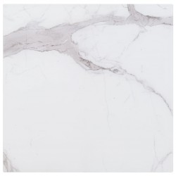 stradeXL Table Top White Square 80x80 cm Glass with Marble Texture