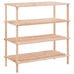 stradeXL 4-Tier Shoe Rack Solid Fir Wood