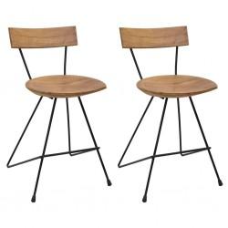 stradeXL Krzesła stołowe, 2 szt., lite drewno tekowe