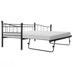 stradeXL Rama łóżka, czarna, stalowa, 180x200/90x200 cm