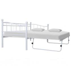 stradeXL Rama łóżka, biała, stalowa, 180x200/90x200 cm