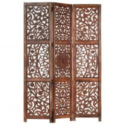 stradeXL Parawan 3-panelowy, rzeźbiony, brązowy 120x165 cm, drewno mango
