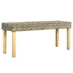 stradeXL Ławka, 110 cm, naturalny kolor, rattan kubu i lite drewno mango
