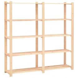 stradeXL 5-Tier Storage Rack 170x38x170 cm Solid Pinewood 500 kg