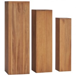 stradeXL 3 Piece Plant Stand Set Solid Teak Wood