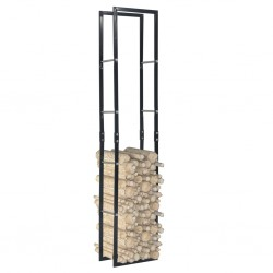 stradeXL Firewood Rack Black 40x25x200 cm Steel
