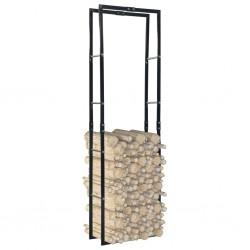 stradeXL Firewood Rack Black 60x25x200 cm Steel