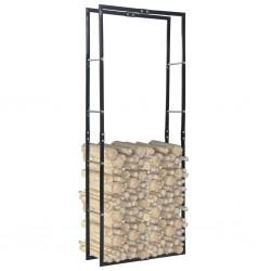 stradeXL Firewood Rack Black 80x25x200 cm Steel
