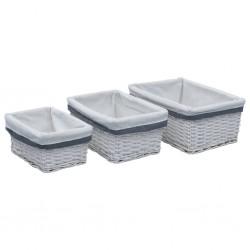 stradeXL 3 Piece Stackable Basket Set White Willow