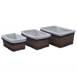 stradeXL 3 Piece Stackable Basket Set Brown Willow