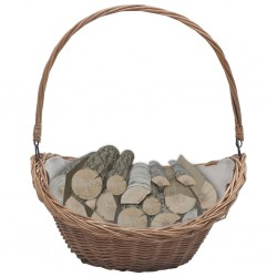 stradeXL Firewood Basket with Handle 57x46.5x52 cm Brown Willow