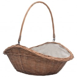 stradeXL Firewood Basket with Handle 60x44x55 cm Natural Willow