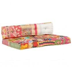 stradeXL Sofa z poduszek na paletę, tkanina, wielokolorowy patchwork