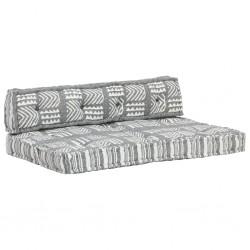 stradeXL Sofa z poduszek na paletę, tkanina, szary patchwork