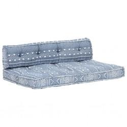 stradeXL Sofa z poduszek na paletę, tkanina, indygo patchwork