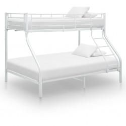 stradeXL Rama łóżka piętrowego, biała, metalowa, 140x200 cm/90x200 cm