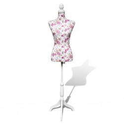 Ladies Bust Display Mannequin Cotton White With Rose