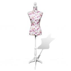 stradeXL Manekin kobiecy, korpus, bawełna z różanym wzorem, biały