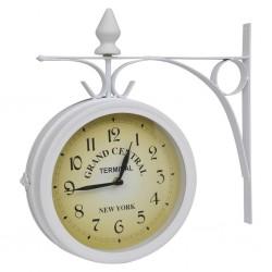 Zegar ścienny w stylu retro, dwustronny, biały
