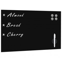 stradeXL Ścienna tablica magnetyczna, szklana, czarna, 60 x 40 cm