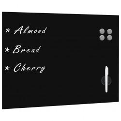 stradeXL Ścienna tablica magnetyczna, szklana, czarna, 80 x 60 cm