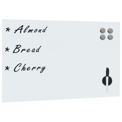 stradeXL Wall Mounted Magnetic Whiteboard Glass 60x40 cm