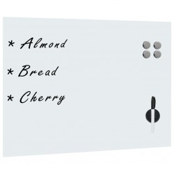 stradeXL Ścienna tablica magnetyczna, szklana, biała, 80 x 60 cm