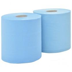 stradeXL 2-Ply Industrial Paper Wiper 2 Rolls 20 cm Blue
