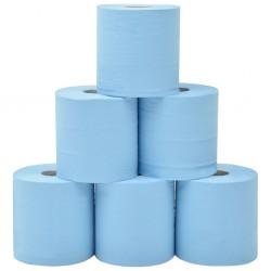 stradeXL 2-Ply Industrial Paper Wiper 6 Rolls 20 cm Blue