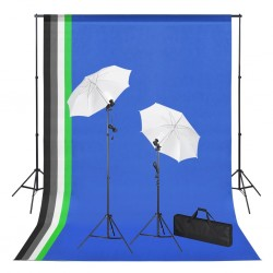 stradeXL Photo Studio Kit with Backdrops Lamps and Umbrellas
