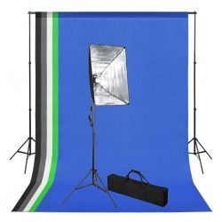 stradeXL Photo Studio Kit with Backdrop and Softbox Light