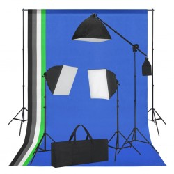 stradeXL Studio Kit with Softbox Lights and Backdrops